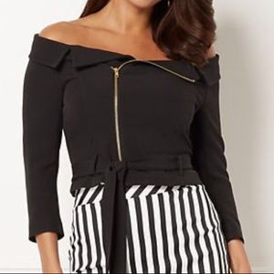 Edgy Off The Shoulder Moto Top
